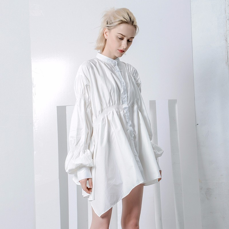 212bed667f06 TWOTWINSTYLE White Irregular Casual Shirt Dress Female Stand Collar Lantern  Sleeve Ruched Mini Summer Dresses Women ...