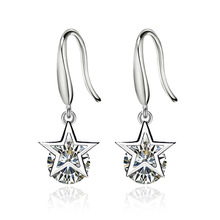 купить 100% 925 sterling silver fashion shiny crystal star ladies`drop earrings jewelry wedding gift Anti allergy drop shipping дешево