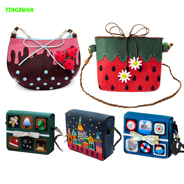 HAPPYXUAN Free cutting Handmade DIY Non-woven Felt Fabric Bag Purse Material Kits Over 14 Years old Children Toys