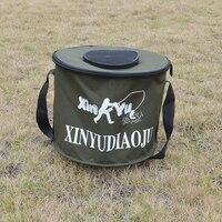 Foldable Fabric Portable Canvas Circular Fish Bucket Tackle Box Water Pail For Fishing Outdoors Fishing Bag