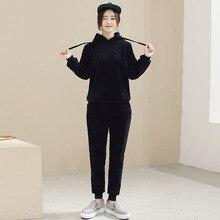 2016 korean style plus size elasitc women set casual fashion cap thread convergent girl suit loose hoodie hat slim pants M110