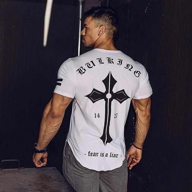 2018 herren Eng Anliegende Kurzarm T-shirt Fitness Organisation Körper Fitness Fitness-Studios Fitness Spleißen Baumwolle T-shirt