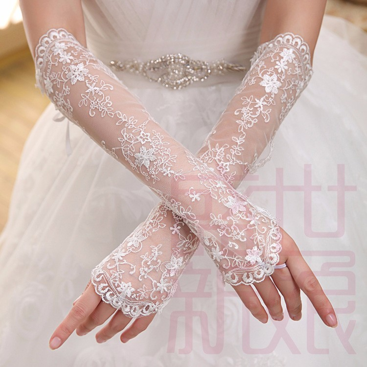 Elegant lace bridal gloves ivory beaded elbow length for Wedding dress with long gloves