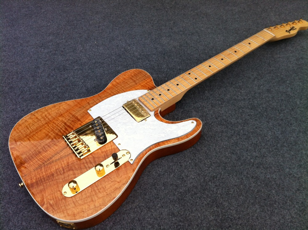 Free Shipping Unbleached Flamed Maple Top HS pickups  Tele Electric guitar Guitarra All color Available floydrose tremolo tiger water transfer top esp electric guitar guitarra all color available free shipping