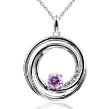 DORMITH free shipping women 925 sterling silver white fashion AAA zirconia 3.2 carat round Pendant Necklaces Jewelry