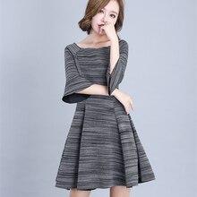 Fashion Women's clothing Elegant Dress Slash Neck Pullovers Three Quarter Sleeves Flare Sleeve High Waist Ladies S Dresses