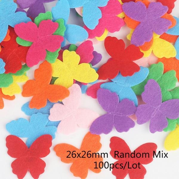 100 шт цветок/Сердце/Бабочка Нетканая фетровая ткань Войлок DIY Набор для шитья кукол скрапбук DIY ремесленные принадлежности - Цвет: Type 10