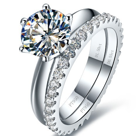 3CT Genuine Synthetic Diamonds Engagement Rings Set Eternity Band