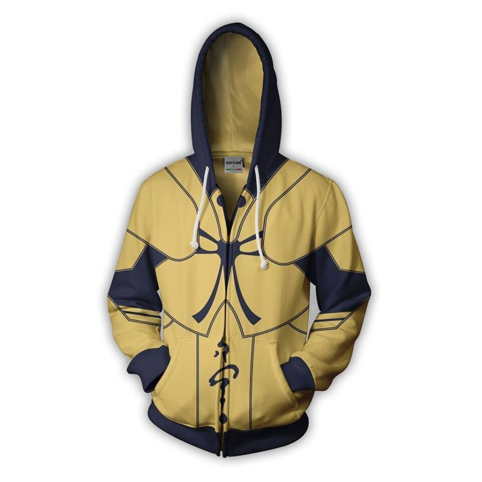 BIANYILONG 2019 New Hooded Men Gilgamesh 3D Printed Hoodies Sweatpants Casual Hooded Zipper Hip Hop Tops