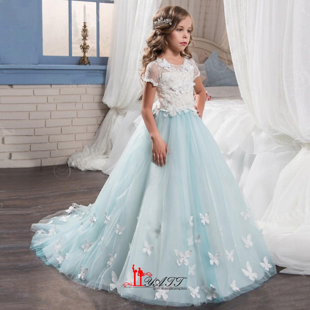 Vintage Mint Floral Lace Arabic 2017 Flower Girl Dresses For ...