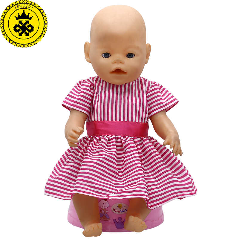 5c556f8e0 ... Baby Doll Clothes Red Striped Princess Skirt Fit 43cm Baby 16-18 inch Doll  Accessories ...