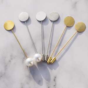 10 Pcs Gold Silver Color Simulated Pearl Alloy Copper Long Brooch Pin For DIY Brooches Lapel Dress Jewelry Parts Accessories(China)