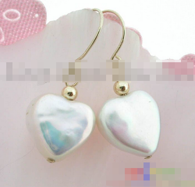 hot sell new free shipping 12266 heart white freshwater pearl earring