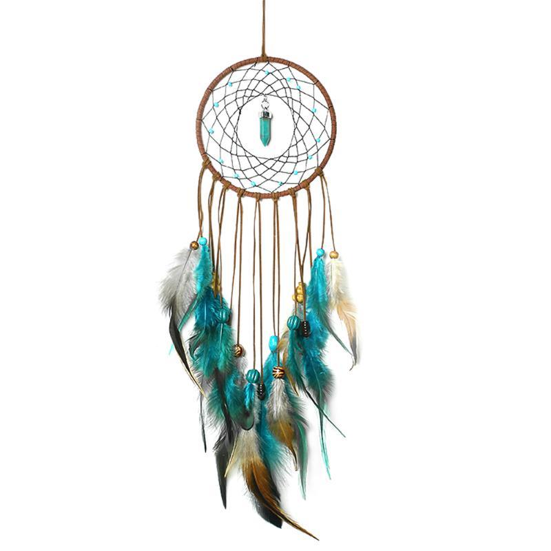 Attrapeur de rêves plumes, cordes de velours, perles de bois, turquoise