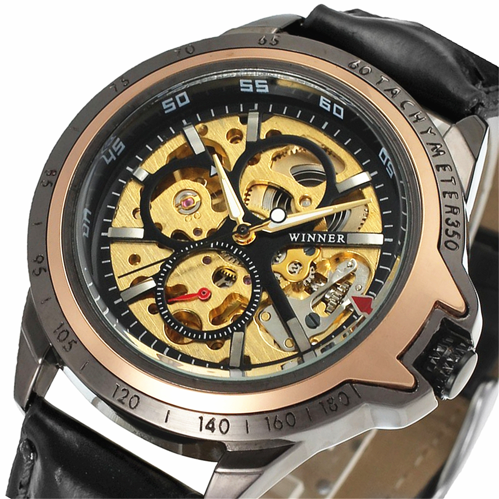 New Winner Watch Fashion Men Hollow Skeleton Outdoor Orologio in - Orologi da uomo