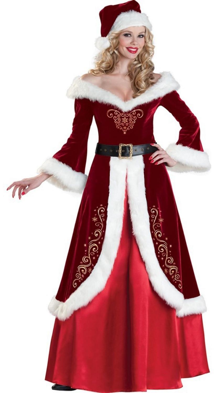 Women Luxury Christmas Queen Dress Princess Santa Costume