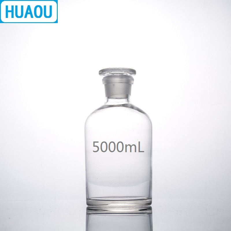 HUAOU 5000mL Narrow Mouth Reagent Bottle 5L Transparent Clear Glass with Ground in Glass Stopper Laboratory Chemistry Equipment 5000ml wide mouth reagent bottle 5000ml glass reagent bottle with ground in glass stopper transparent glass bottle