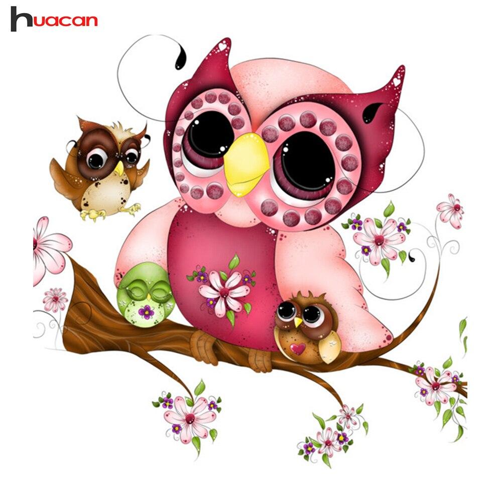 HUACAN Diamond Embroidery Animals DIY Cartoon Owl Diamond Mosaic Bilik Hiasan Bilik Hadiah Corak Resin Penuh Permata Tiruan F1676