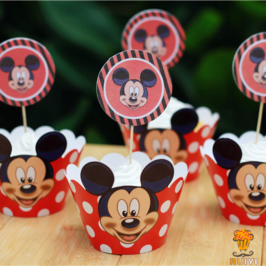 24pcs Anime Mickey Mouse Cupcake Wrappers Toppers Picks