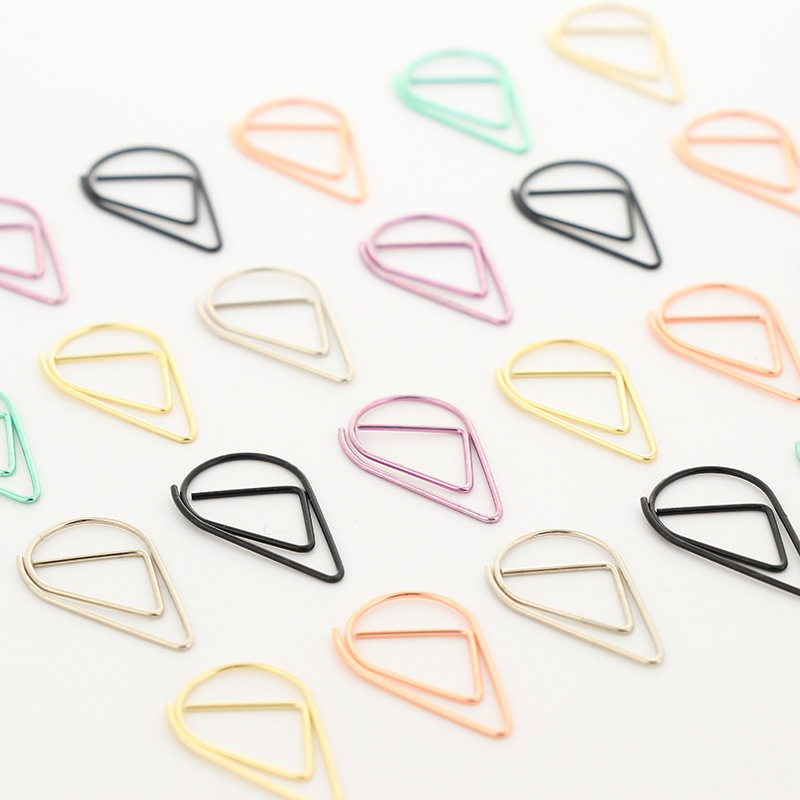 10 Pcs Metal Material Drop Shape Paper Clips Gold Silver Color Funny Kawaii Bookmark Office Shool Stationery Marking Clips JZ20