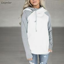 2018 Autumn Women Solid Color Sweatshirts  Zipper Casual Long Sleeve Ladies Hooded Winter Laipelar
