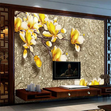 Custom wallpaper color carved magnolia metal pattern texture TV background wall painting high-grade waterproof material
