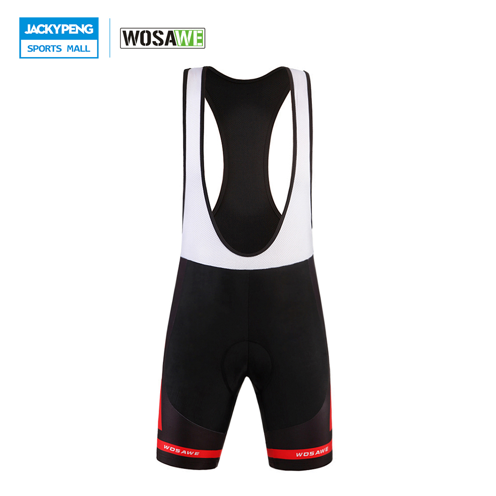 WOSAWE 2018 Mens Cycling Vest Shorts Breathable Quick-Dry Bicycle Bike Bib Shorts Padded Braces Bib Short Cycling Bib Shorts