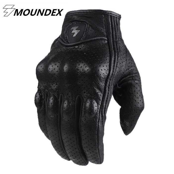 Fashion Glove real Leather Full Finger Black moto men Motorcycle Gloves Motorcycle Protective Gears Windproof Motocross Glove