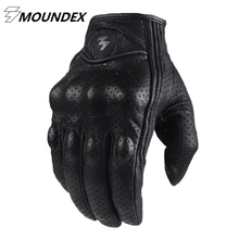 Fashion Glove real Leather Full Finger Black moto men Motorcycle Gloves Motorcycle Protective Gears Windproof Motocross