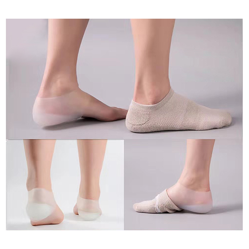 Image 2 - Unisex Invisible height increase socks heel pads insoles silicone  foot massage Adjustable Hard Wearing Insoles 2/3/4cm a pair-in Foot Care Tool from Beauty & Health