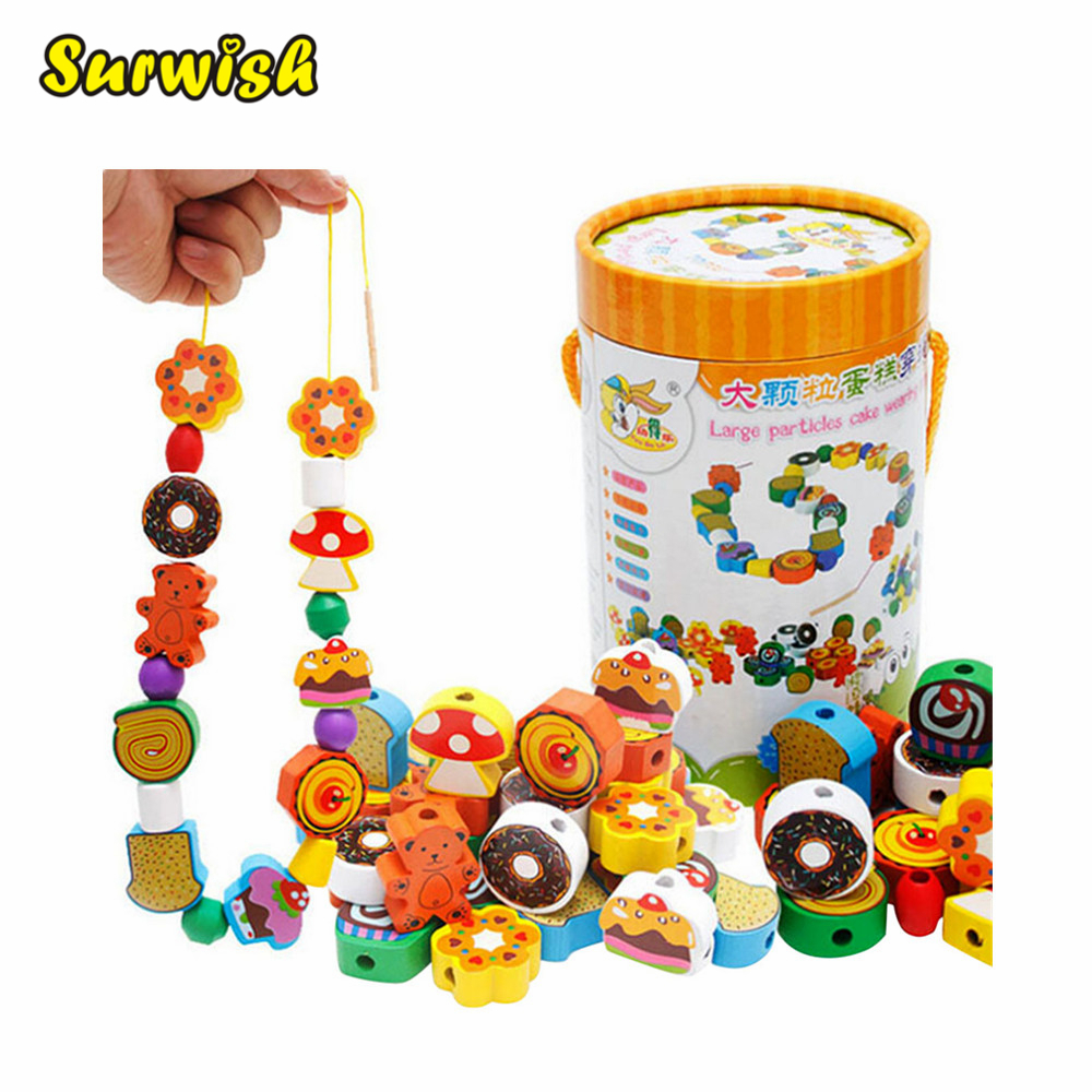 Surwish 70 Grains Wooden Cakes Printed Beads Set for Kids Educational Toy artkal beads 28 color with pegboards accessories box set perler mini beads plastic eva educational toys for children ca28