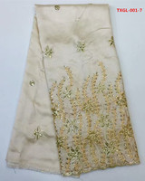 African George Wrapper In Gold With Gold Embroidery 5yards Pcs Silk Satin For Sewing Nigerian George