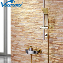 2018 Wholesale New Contemporary Solid Brass Construction Golden Exposed Bath &shower Faucet Mixer Tap