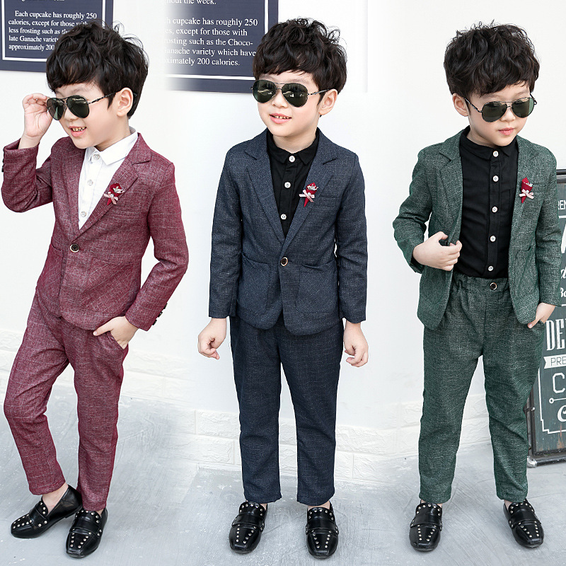 New2PCS Jacket + pants Boys Wedding Costume with Belt Style Boys Formal Suit Children Spring Clothing Suits