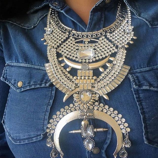 Ladyfirst Новые Vintage Кристалл Люкс DIY Объединить Кристалл Цепи Кулон Femme Boho Макси Бижутерии Заявление Facebook Necklace3471