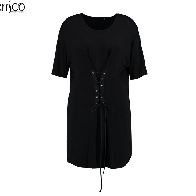 718a0baf7de MCO Autumn Ulitimate Easy Lace Up Front Plus Size Womens Dress Basic Black Tunic  Dresses Oversized Loose Women Clothing 6XL 7XL