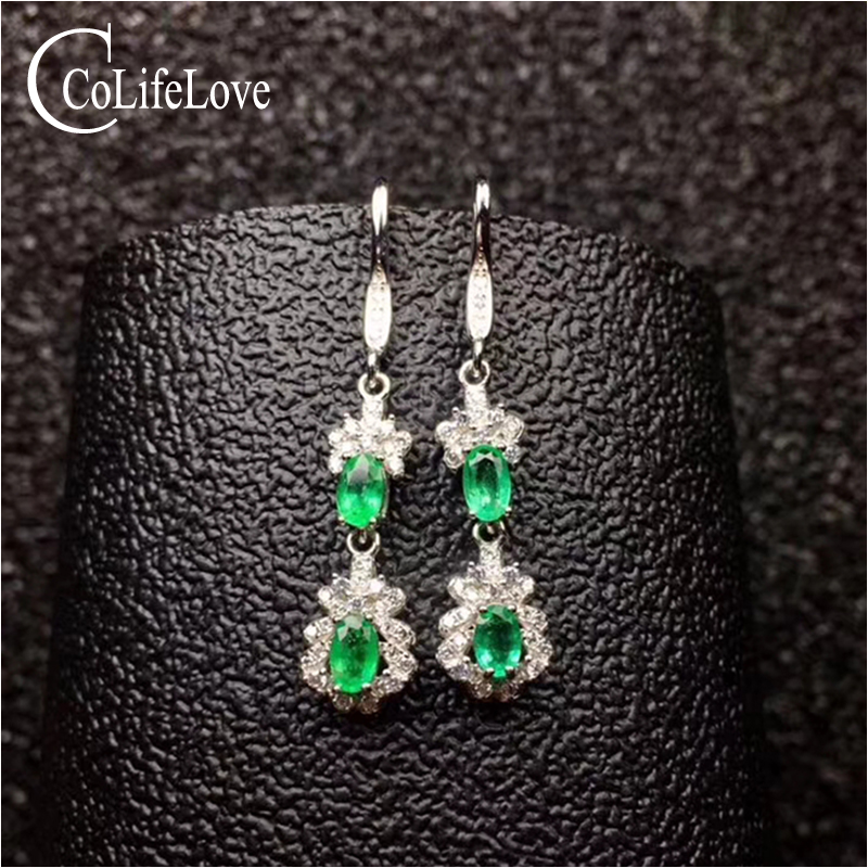 Dazzling silver emerald drop earrings for wedding natural emerald silver drop earrings 925 silver emerald jewerly