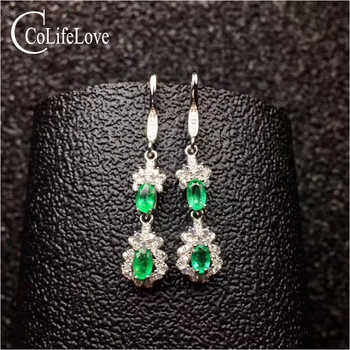 Dazzling silver emerald drop earrings for wedding natural emerald silver drop earrings 925 silver emerald jewerly gift for woman - DISCOUNT ITEM  0% OFF All Category