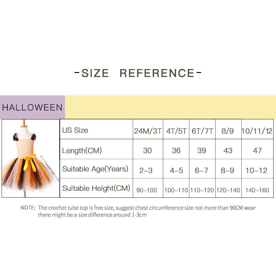 Злой костюм ведьмы на Хэллоуин платье-пачка с шляпы детские для девочки оранжевый и черный тюль одежда дети косплей Рождество карнавальное платье