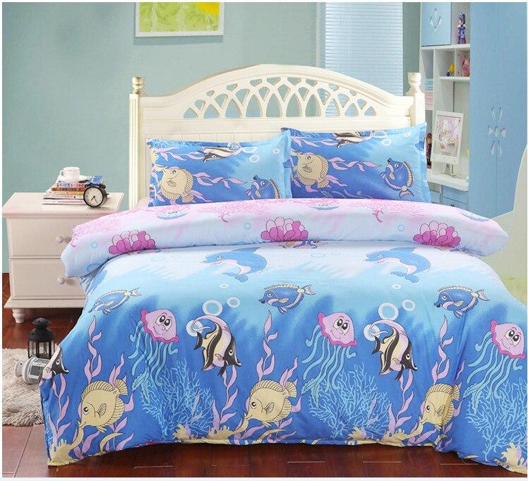 Cartoon Kids Bedding set single Double Queen For Child 2/3Pcs Duvet Cover Set For USA Europe Bed Linens Sheet Set Bedclothes