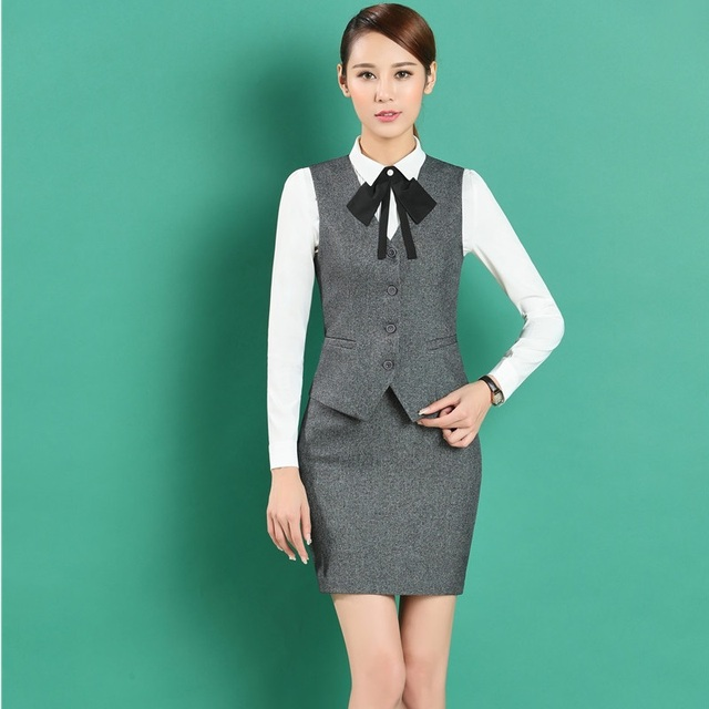Formal Ol Styles Blazers Skirt Suits With Vest Coat Waistcoat For