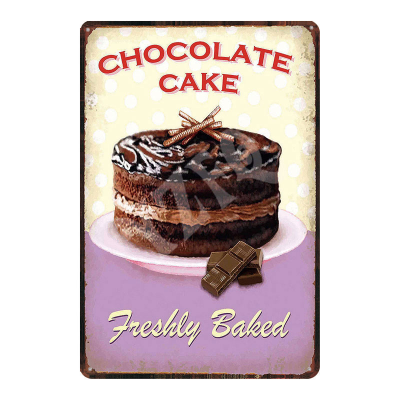Retro Metal Tin Signs Ice Cream Vintage Plate Chocolate Cake Wall Decor Poster