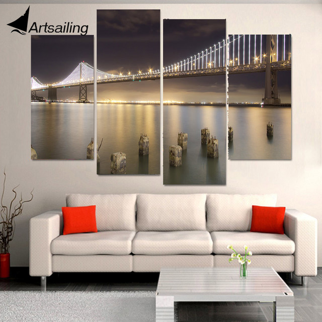 Canvas Painting 4 Pcs Canvas Art San Francisco Bridge Bay HD Printed Home  Decor Wall Art