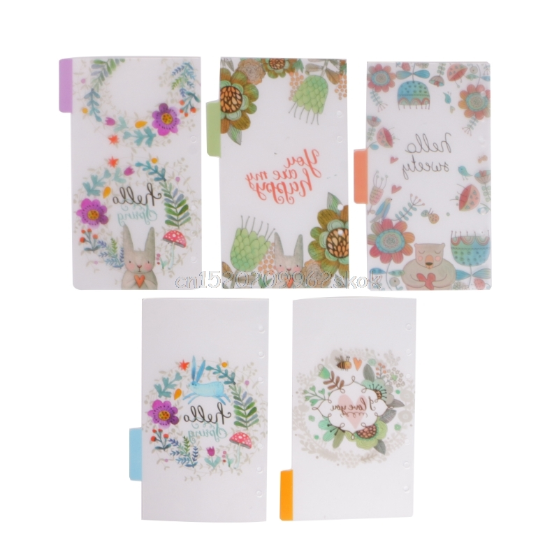 5Pcs Floral Category Page Planner Index Page Notebook Translucent 6 Hole Binder j12 dropshipping Islamabad