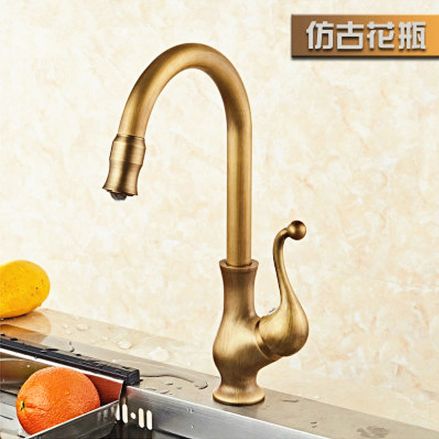 american style antique brass kitchen faucet retro rotating single handle kitchen sink faucet vintage brass kitchen faucet j17064
