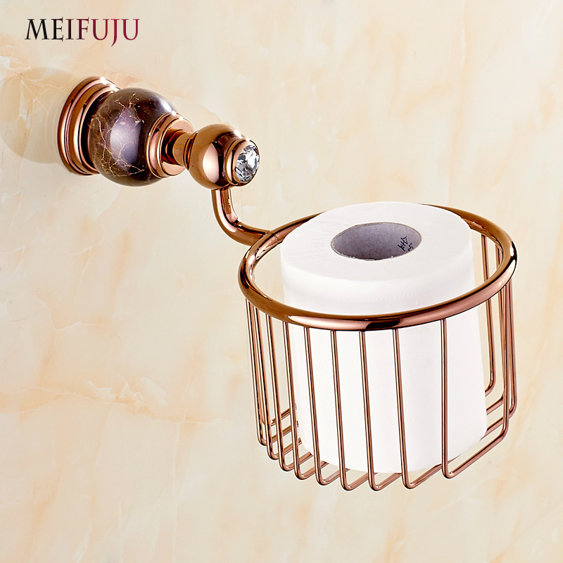 Rose Gold Marble Toilet Roll Paper Bathroom Accessories Jade Copper Napkin Paper Holders Basket Tissue holder Hardware sets