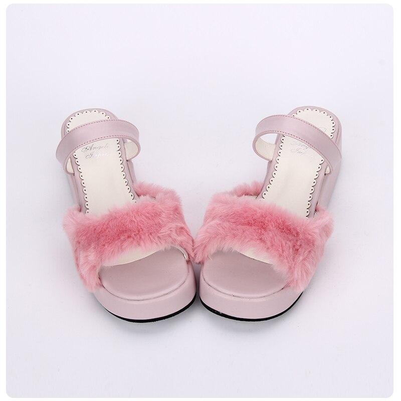 Süße rosa schwarz on Fell Kaninchen Prinzessin weiß Lolita Heel Sandalen Heels weiß Faux Slip Frauen custom Keil High Schwarzes Rosa B8Fxw6q8U