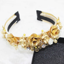 Jeweled Headband Women Gem Designed Hair Accessories Leaf Wedding Hair Gold Metal Rose Crown Bands Party Luxury Baroque Hairband(China)
