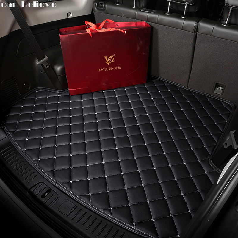 Car Believe Car Trunk Mat For Subaru forester 2017 2009 Outback Tribeca heritage xv car accessories styling cargo liner car interior rear cargo trunk mat pad 1set artificial leather for honda crv cr v 2017 2018 car accessories styling
