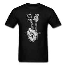 Hipster BASS GUITAR T Shirt Printer Men's T-shirt Cotton Crewneck Plus Size Short Sleeve FINGER GUITAR Mens T Shirts